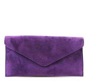 ALB Purple Real Suede Clutch Bag