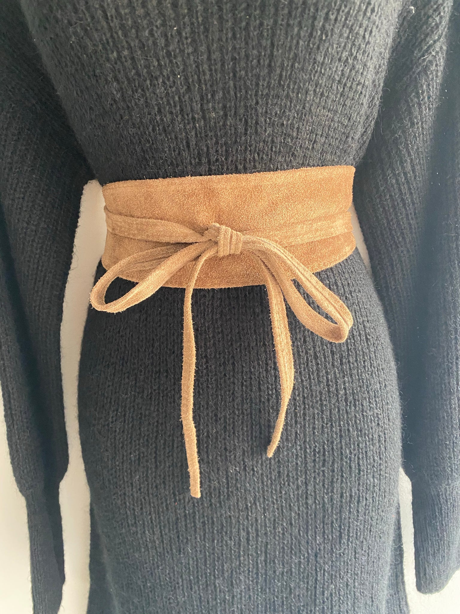 ALB Real Suede Taupe Waist Clinch Belt