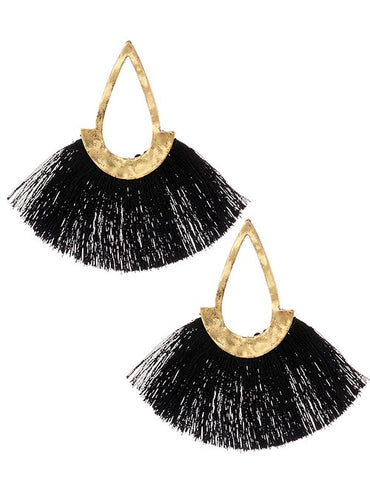ALB Black Gold Tassel Earrings