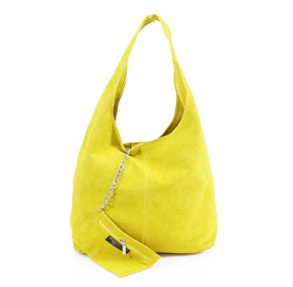 ALB Yellow Real Suede Slouch Bag