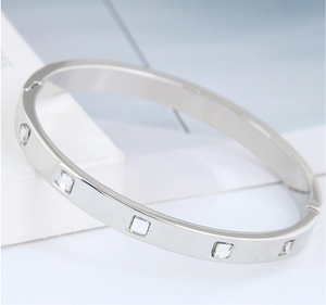 ALB Silver Diamond Bangle Bracelet