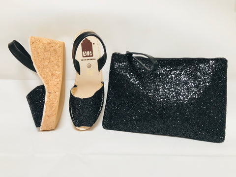 Black Glitter Cork Wedge ALBies Range