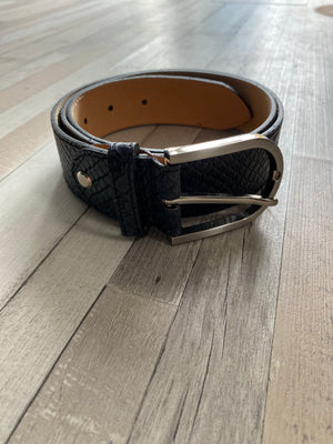 ALB Real Leather Black Croc Belt