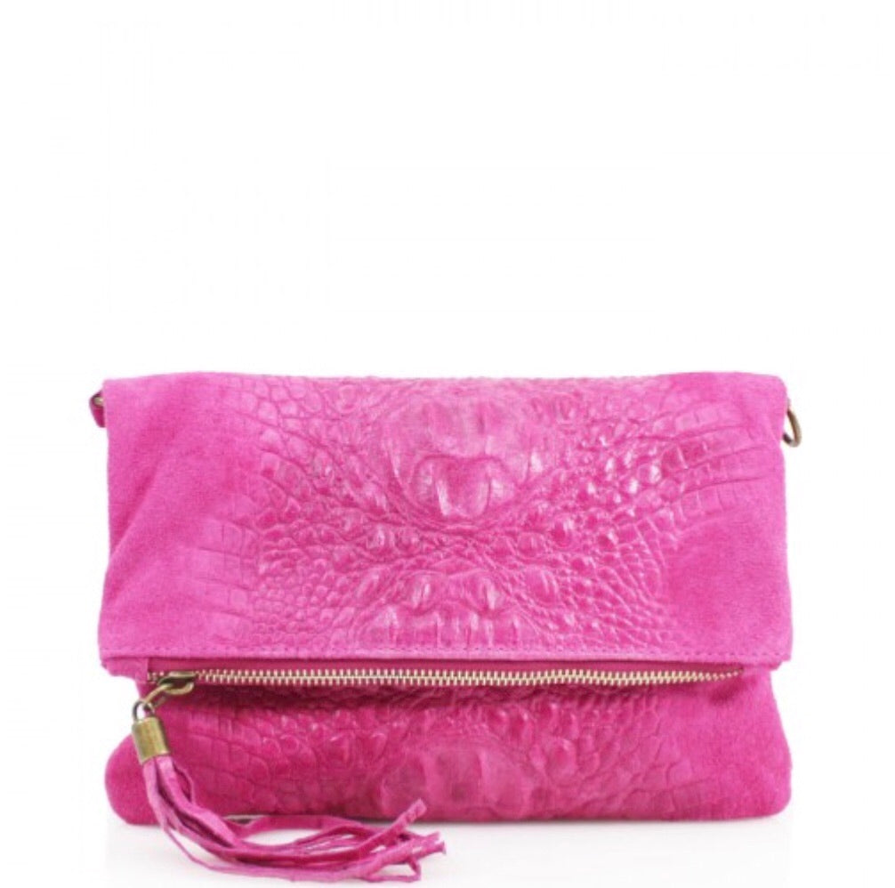 ALB Fuchsia Snakeskin Leather Body Bag