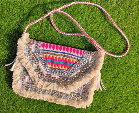 ALB Pink Aztec Embroidered Clutch Bag