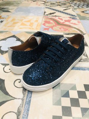 ALBie Navy Silver Metallic a Leather Trainers