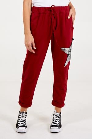ALB Red Sequin Star Joggers Casual Trousers