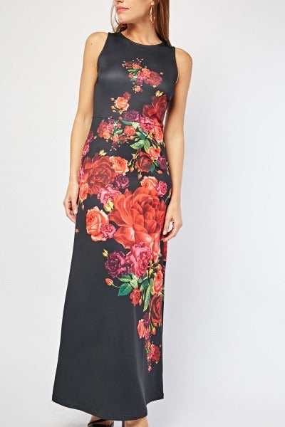 ALB Black Floral Maxi Dress