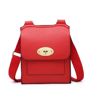 ALB Red Buckle Padlock Cross Body Bags