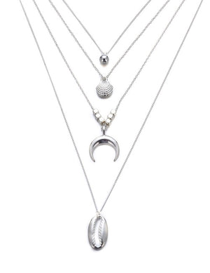ALB Silver 4 Layered Moon Shell Necklace
