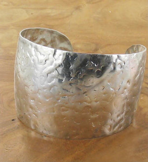 ALB Silver Plated Large Hammered Cuff
