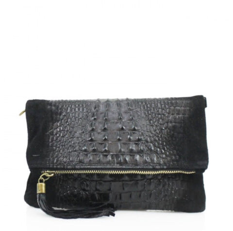 ALB Black Snakeskin Leather Body Bag