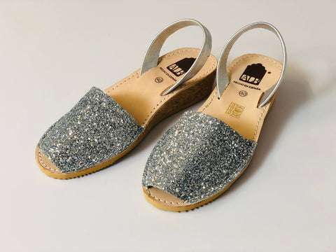 Silver Glitter Low Wedge ALBies Range