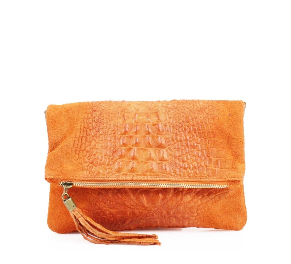 ALB Orange Snakeskin Leather Body Bag