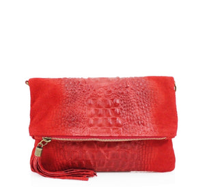 ALB Red Snakeskin Leather Body Bag