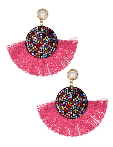 Pink Multi Tassel Round Earrings