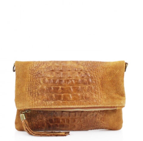 ALB Tan Snakeskin Leather Body Bag