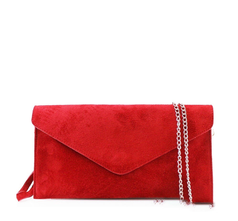 ALB Red Real Suede Clutch Bag