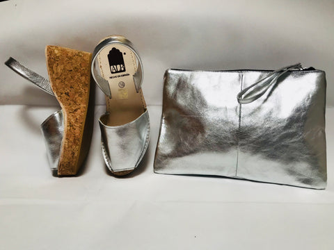 Silver Metallic Cork Wedge ALBies Range