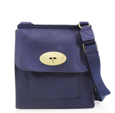 ALB Navy Buckle Padlock Cross Body Bags
