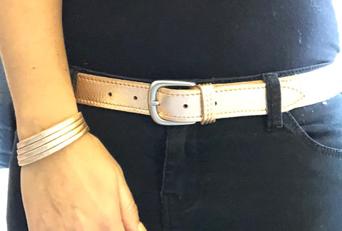 ALB Real Leather Rose Gold Belt