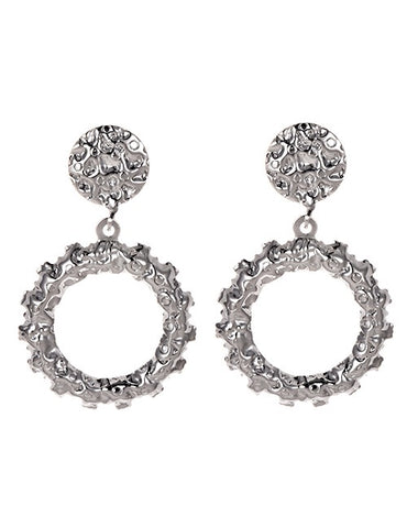 Silver Floral Circle Earrings