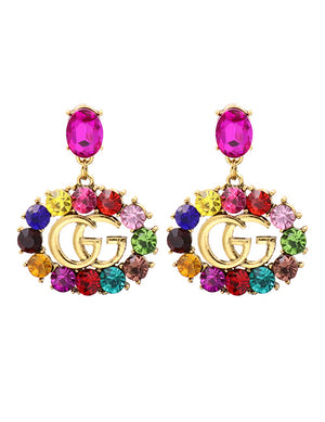 ALB Multi G Circle Jewelled Earrings