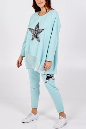 ALB Mint Sequin Star Joggers Casual Trousers