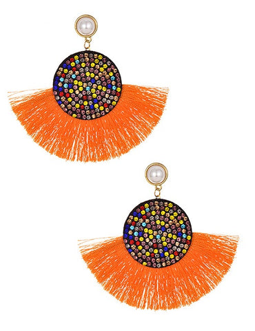 Orange Multi Tassel Round Earrings