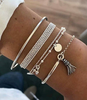 ALB Silver Multi-layer Bracelet Set