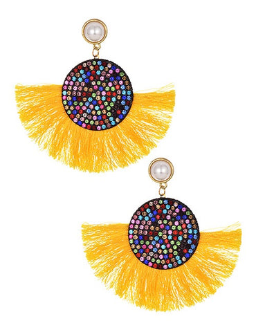 Yellow Multi Tassel Round Earrings