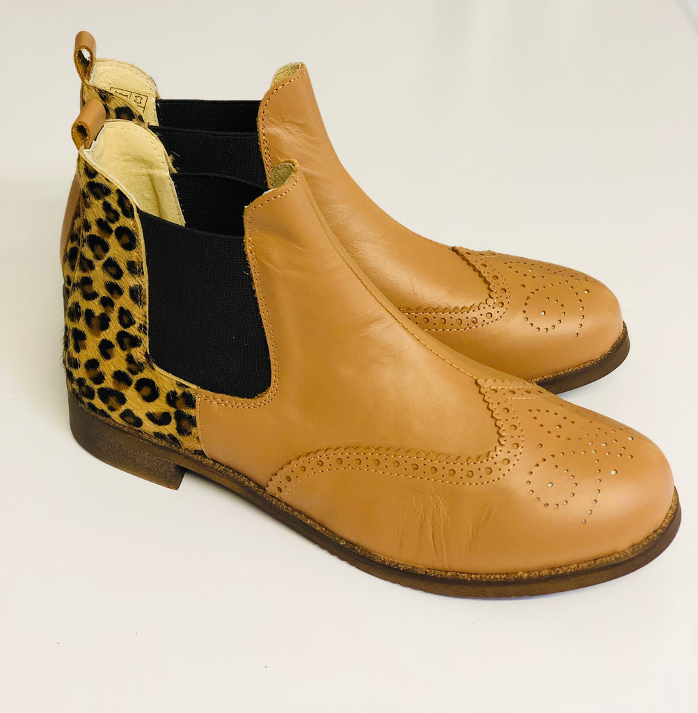 ALBie Tan Leopard Pony Hair Chelsea Boots