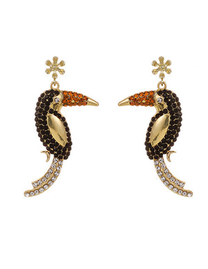 ALB Toucan Bird Diamond Earrings