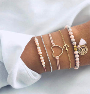 ALB Pink Gold Heart Bracelet Set