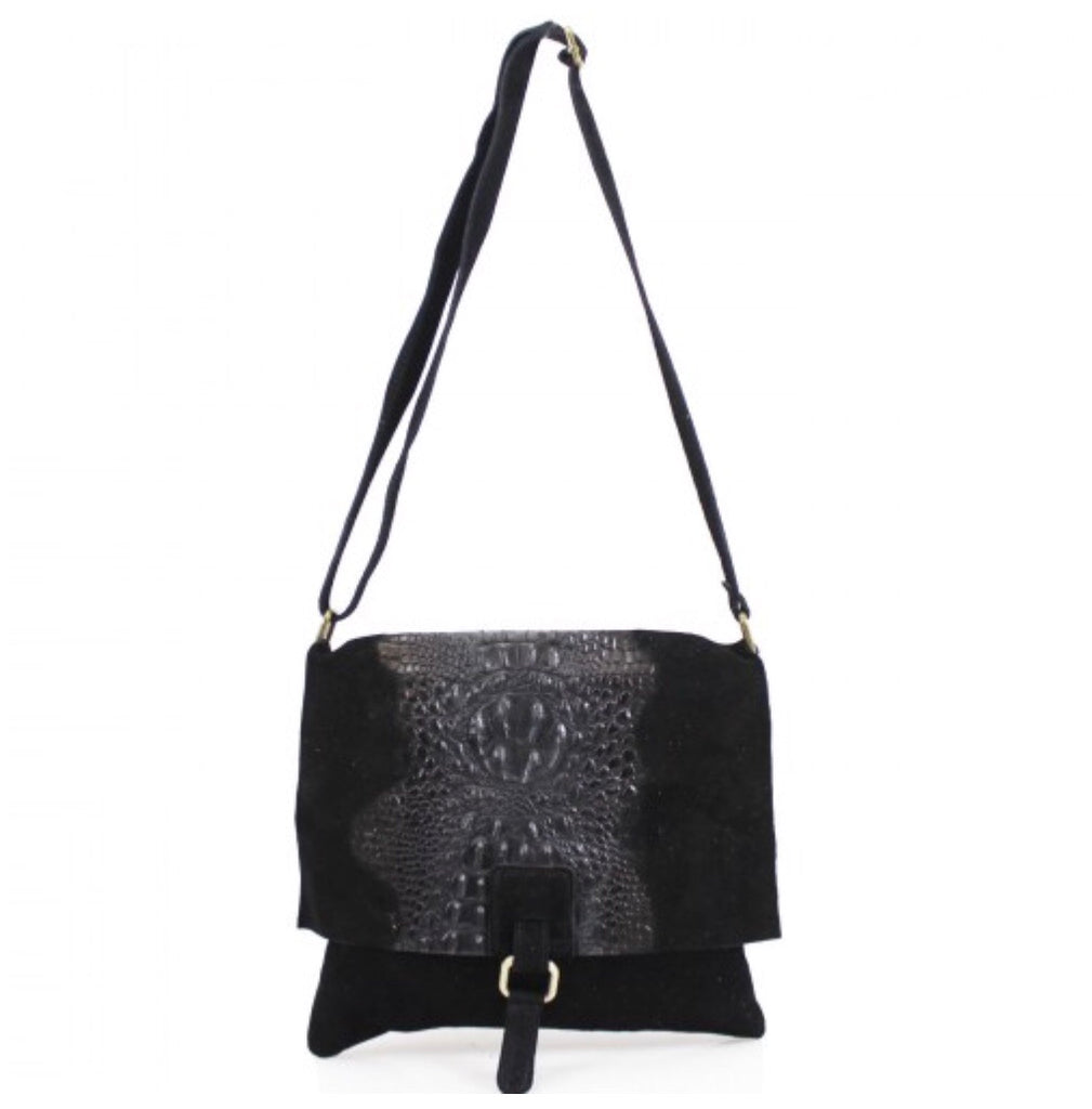 ALB Black Snakeskin Leather Crossbody Bag