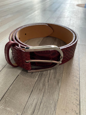 ALB Real Leather Burgundy Croc Belt