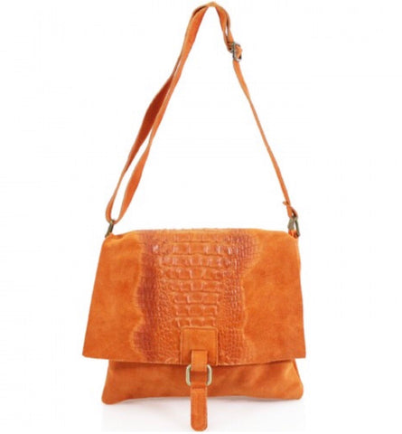 ALB Orange Snakeskin Leather Crossbody Bag