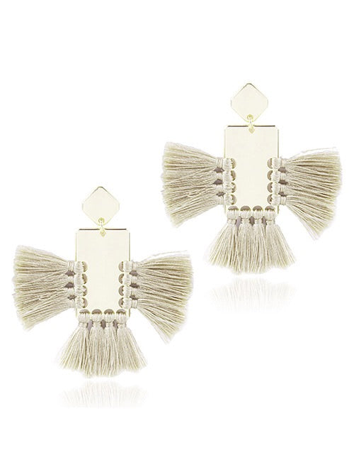 ALB Taupe Gold Square Tassel Earrings