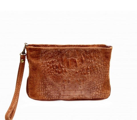 ALB Tan Snakeskin Leather Clutch Bag