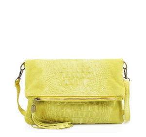 ALB Yellow Snakeskin Leather Body Bag