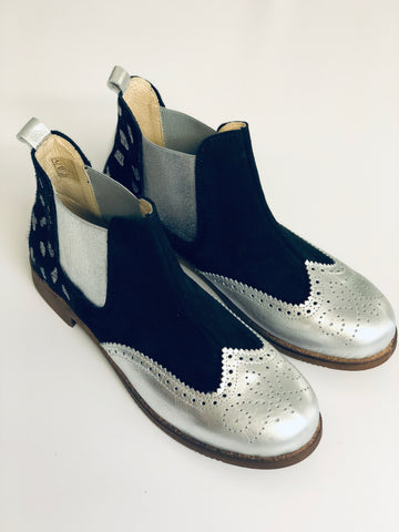 ALBie Black Silver Pony Hair Chelsea Boots