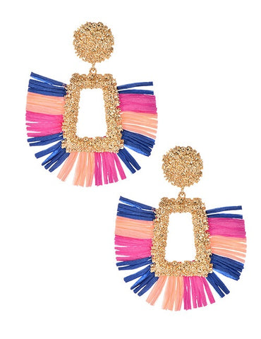 Multi with Gold Floral Weave Earrings