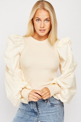 ALB Cream Puff Sleeve Fine Knit Top