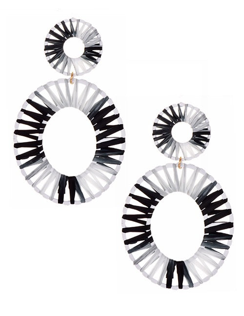 Black White Oval Weave Earrings