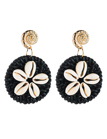ALB Black Shell Beaded Earrings