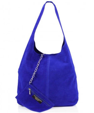 ALB Cobalt Blue Real Suede Slouch Bag
