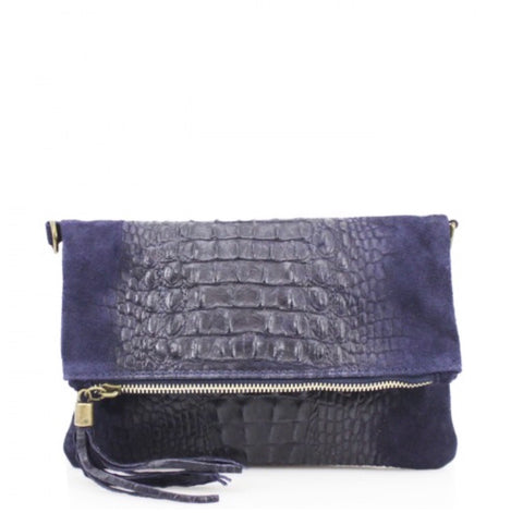 ALB Navy Snakeskin Leather Body Bag
