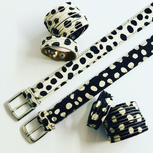 ALB Real Leather Black Dalmatian Belt