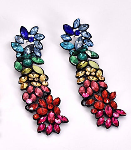 Rainbow Jewelled Drop Earrings