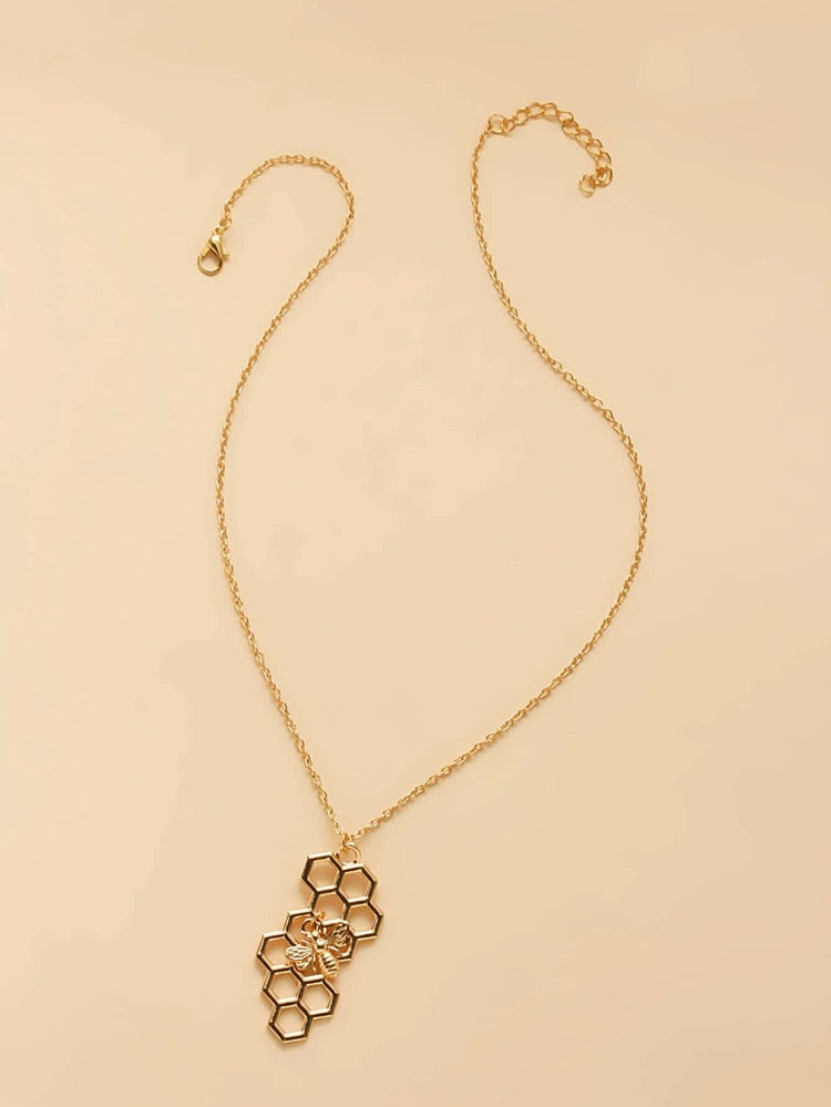 ALB Gold Bee Honeycomb Necklace